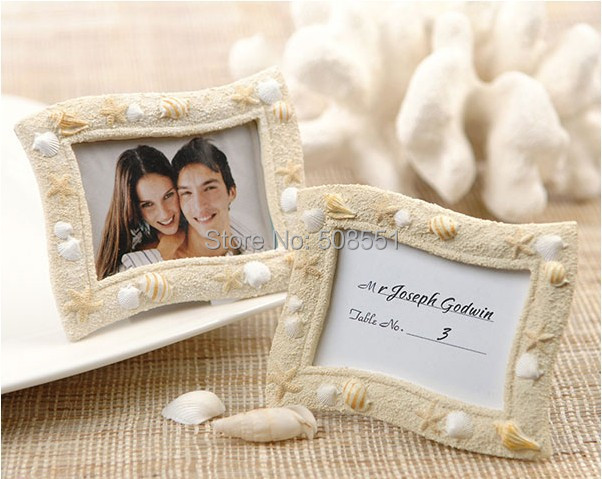 free shipping wholesale beach seaside sand and shell resin wedding place card holdermini