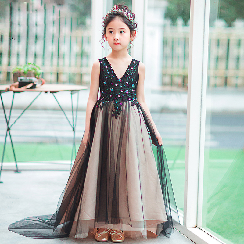 Girl's Black Birthday Dress Communion Pageant Ball Gowns Lace Floral Dresses Long Princess Dress Trails Gown Beading Girl Dress half placket pearl beading tie cuff dress