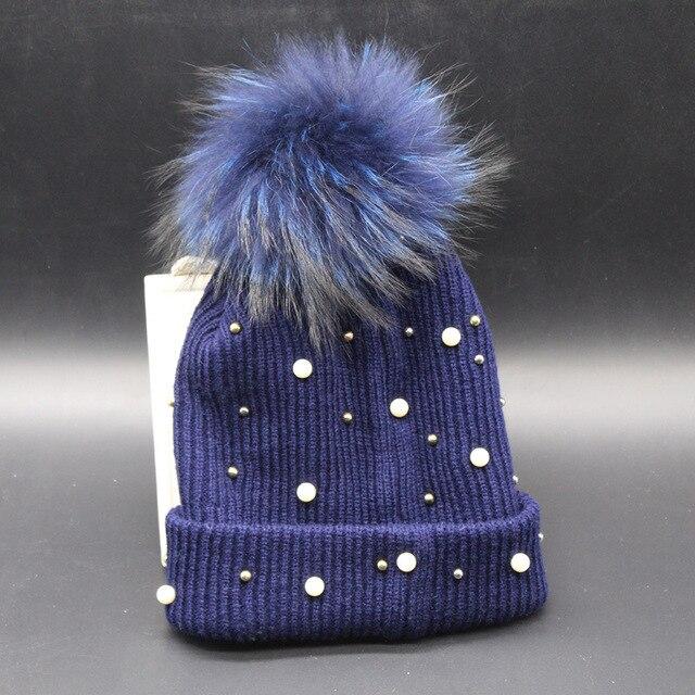 new multi color full pearl decorated genuine raccoon fur pom pom hat handmaded pom pom fur beanies women delicate nice style hat
