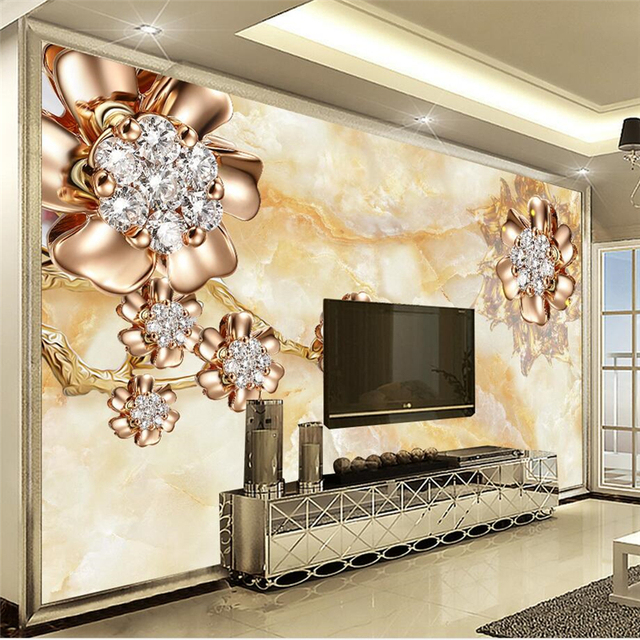 Beibehang 3d European Marble Palace Wind Jewelry Flowers Tv Backdrop