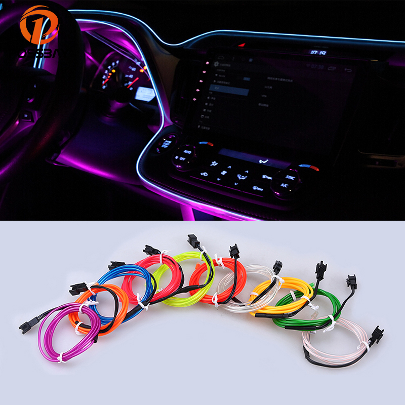 POSSBAY 3M EL Wire Rope Neon Glow Light Decorate Car Party Outdoor/Indoor For A4 A6 Camry Civic CRV Interior Atmosphere Lights
