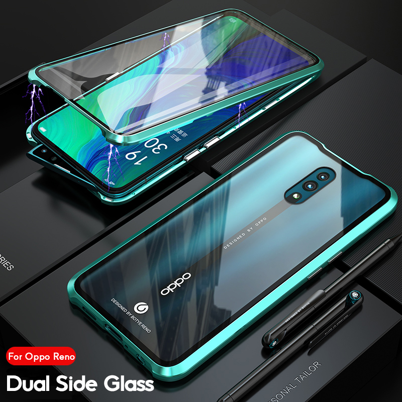 360 Degree Transparent Double-Sided Glass Armor Luxury Magnetic Metal Bumper Case For OPPO Reno 10x zoom Cover Full Protection360 Degree Transparent Double-Sided Glass Armor Luxury Magnetic Metal Bumper Case For OPPO Reno 10x zoom Cover Full Protection