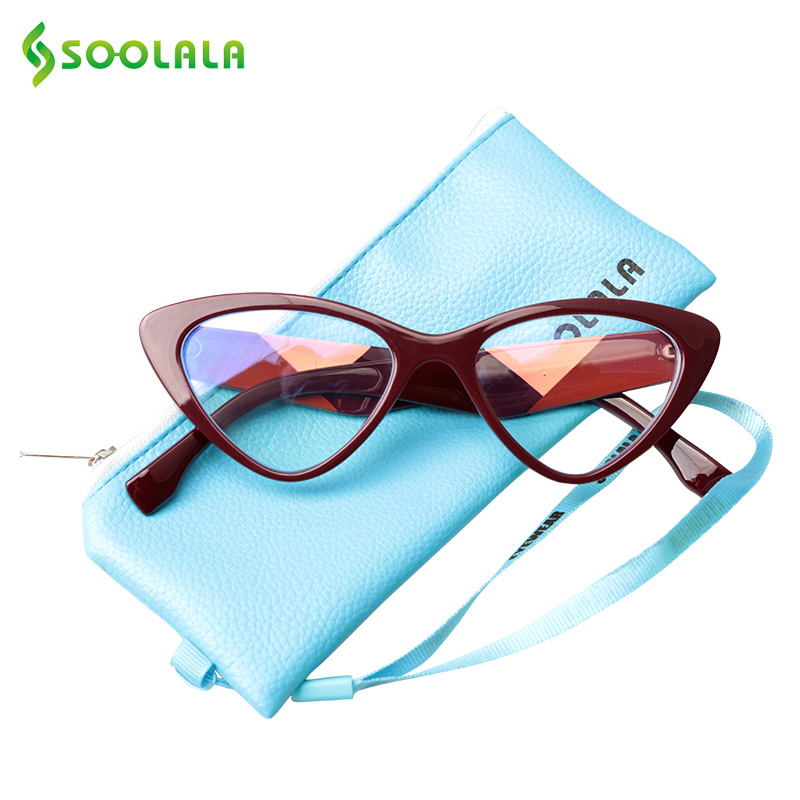 SOOLALA Triangle Anti Blue Ray Women Computer Reading Glasses Blue Light Protection Eyewear Readers Dioper Presbyopia Glasses