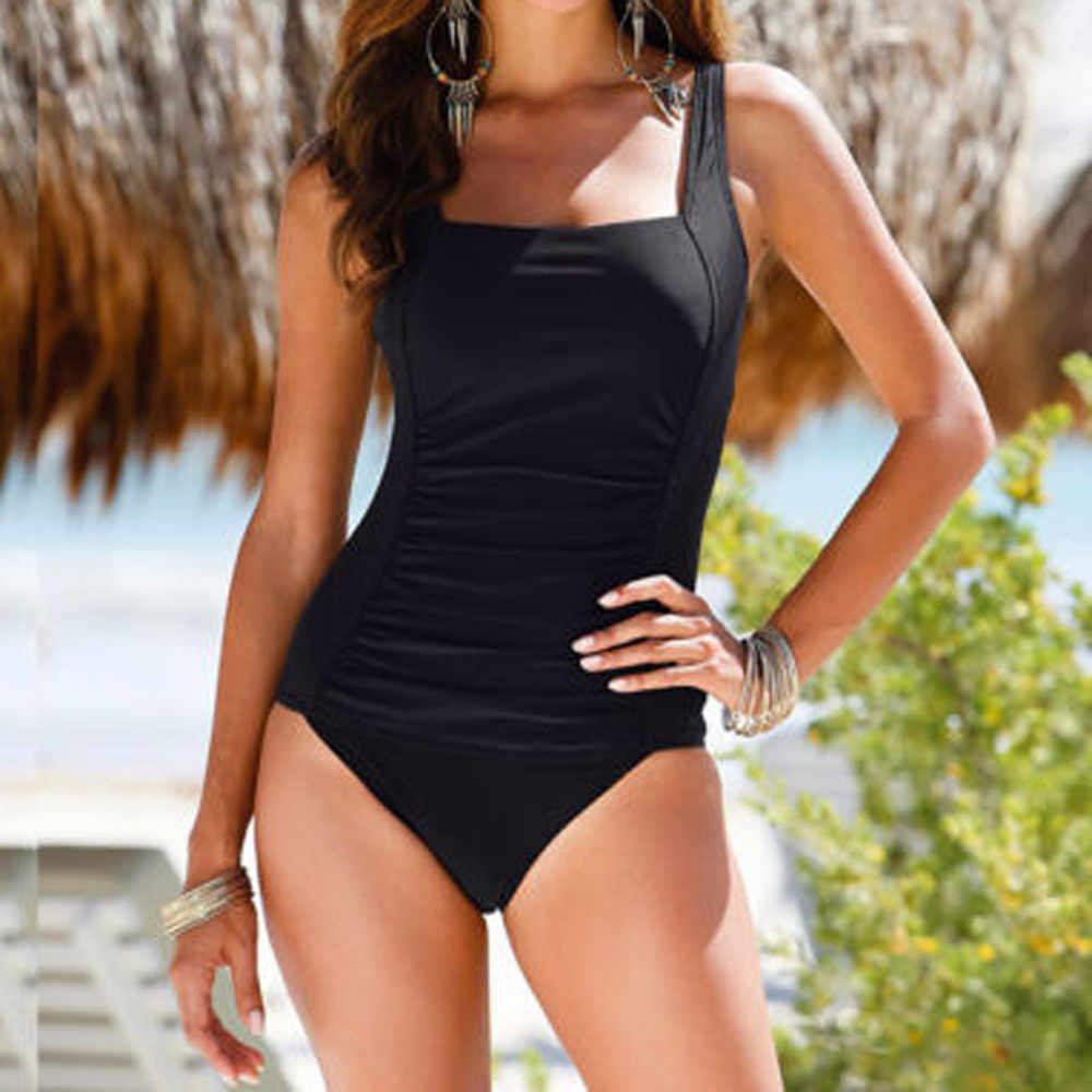 Femmes une pièce solide Push Up rembourré Bikini maillot de bain maillots de bain maillot de bain Monoki Beachwear combinaison Bikini 2019 Mujer