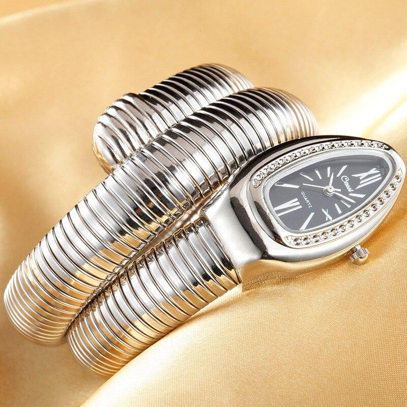 CUSSI 2019 Gold Luxury Women 39 s Snake Watches Fashion Quartz Wristwatches Ladies Bracelet Watch Clock Reloj Mujer relogio feminin in Women 39 s Watches from Watches