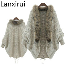 Lanxirui 2018 New Stylish Women Loose Fur Collar Sweater Batwing Sleeve Knit Wholesale Dropshipping July0726