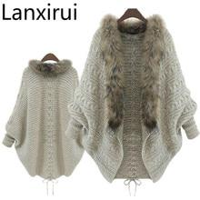 Lanxirui  New Stylish Women Loose Fur Collar Sweater Batwing Sleeve Knit Fur Wholesale Dropshipping July0726 stylish open front batwing sleeve fringed women s kimono