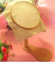 Dia24cm Stand Embroidery Hoop Wood Cross Stitch Rack Adjustable Desktop Frames Cross Stitch Embroidery Frame 360 Rotatable