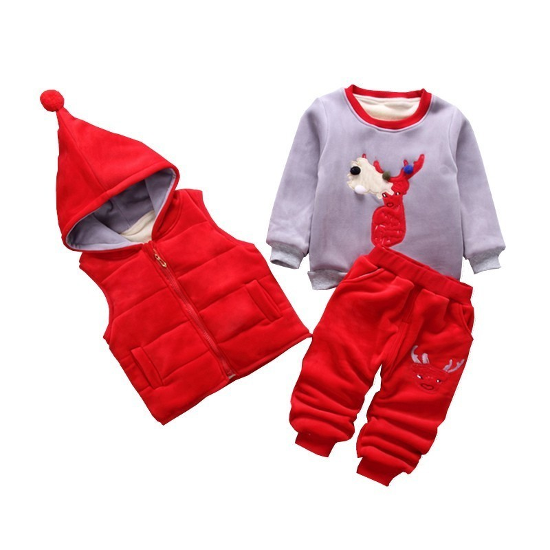 цена на Fashion Baby Boys Girls Cartoon Deer Clothes Children Add Cotton Hooded Vest T-shirt Pants 3Pcs/Set Autumn Winter Kids Tracksuit
