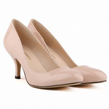 new fashion pointed toe women pumps solid fashion sexy party classics Pu leather Med heel shoes woman size 35-42