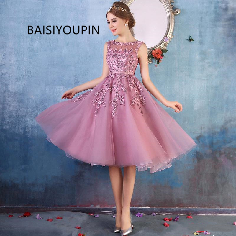 2019 New Crew Neck Lace Knee Length   Cocktail     Dresses   Organza Lace Applique Beaded Short Party Evening Gowns