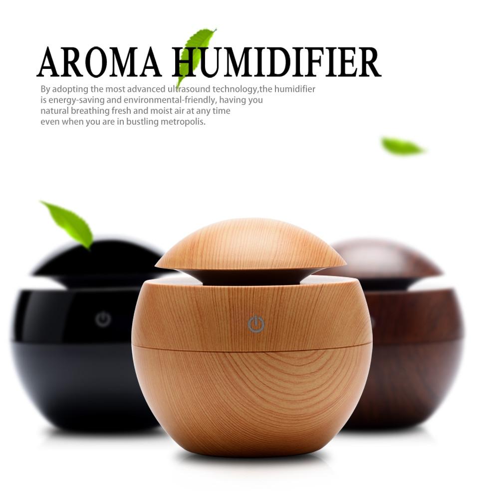 550 ml Elektrische Aroma Ätherisches Öl Diffusor holz ultraschall-luftbefeuchter kühlen nebel-hersteller fogger mit 7 farbe LED nacht licht