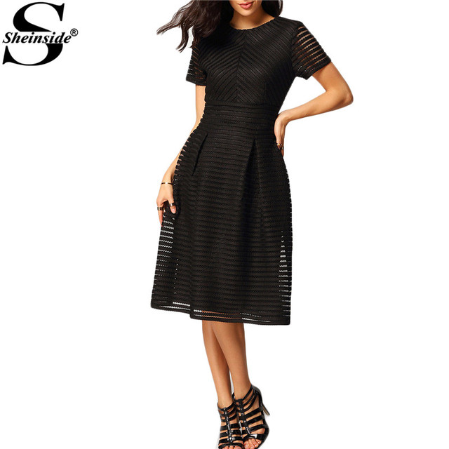 Sheinside Women Party Dresses 2017 Pleated Black Round Neck Short Sleeve Hollow Out Ladies Flare Flippy Mid Elegant Dress