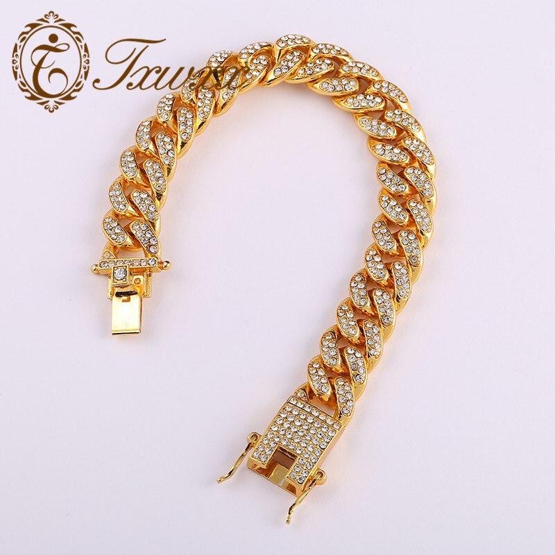 Capable Mens Zircon Hip Hop Miami Curb Cuban Cz Chain Bracelet Gold Out Paved Rhinestones Rapper Big Bracelet Jewelry