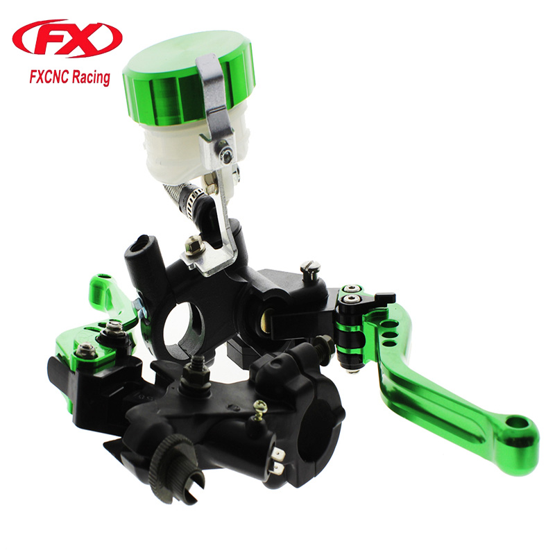 FX CNC 22mm Universal Adjustable Hydraulic Brake Cable Clutch Levers Master Cylinder Reservoir Set For YAMAHA YZF R125 R25 R15 6 colors cnc adjustable motorcycle brake clutch levers for yamaha yzf r6 yzfr6 1999 2004 2005 2016 2017 logo yzf r6 lever