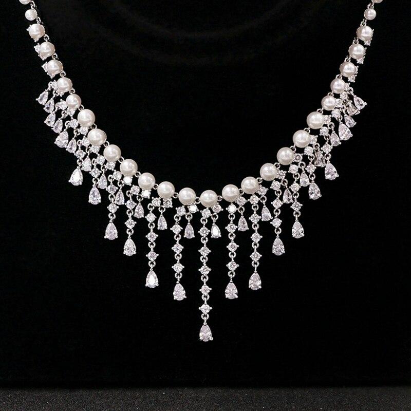 Cubique zircone ronde perle perceuse Noble mariée collier pendentif boucles d'oreilles bijoux strass accessoires de mariage pour les femmes - 6