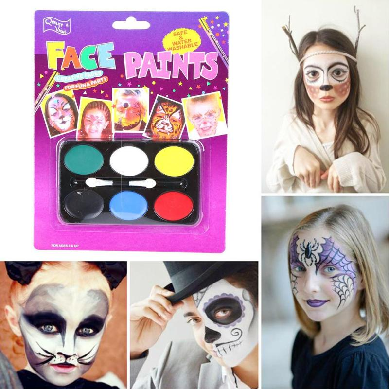 6 Colors Halloween face body paint colored drawing pigment human face makeup paste paint no harmful Painting skin L40