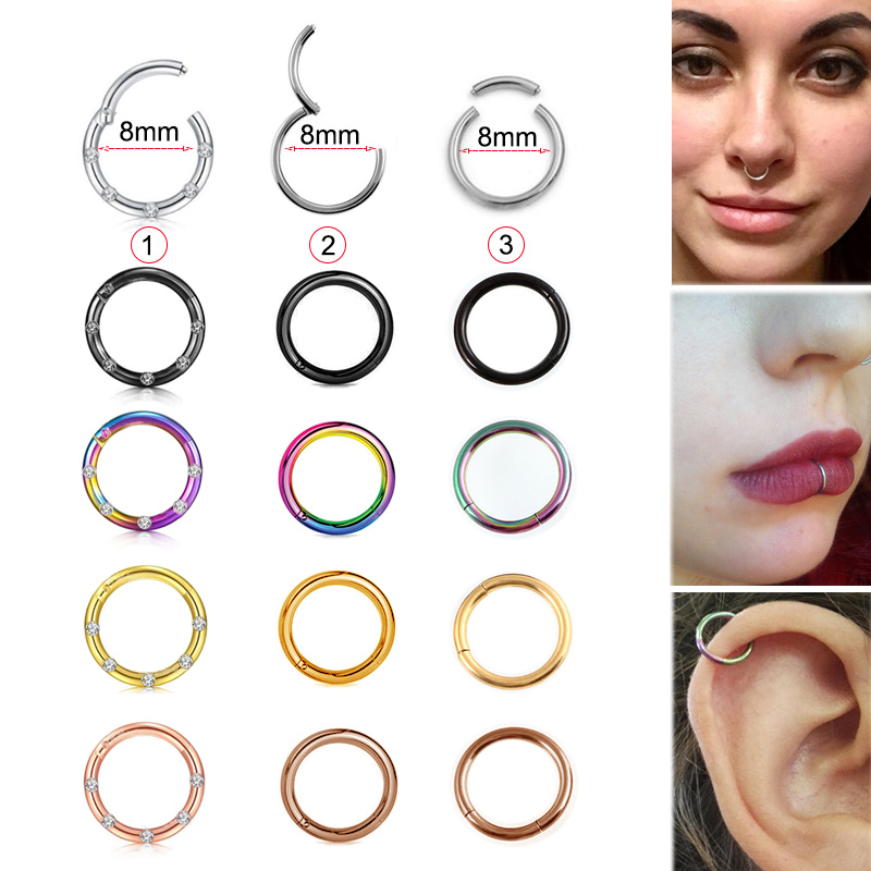 1pc 16g 1 2x8mm Hinged Clicker Seamless Piercing Nose Ring Hoop