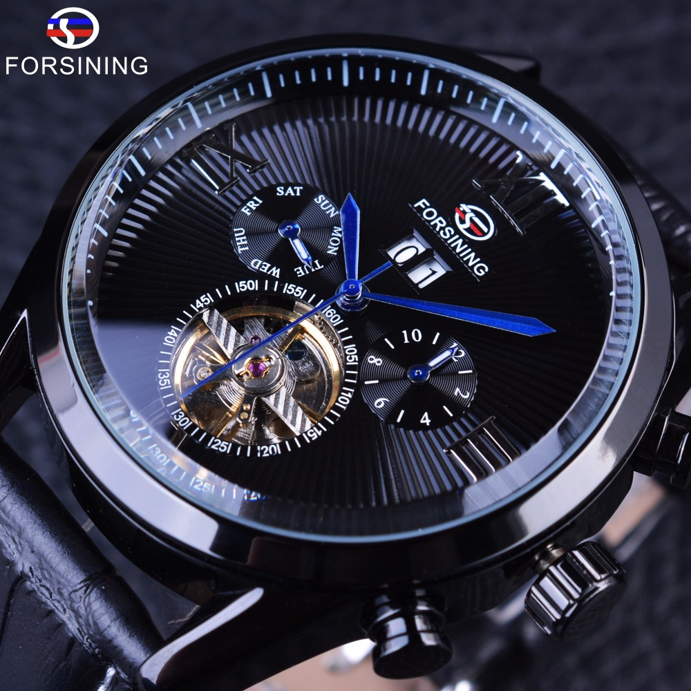 Forsining Black Genuine Leather Blue Hands Full Black Tourbillion Streamlined Dial Mens Watches Top Brand Luxury Automatic Watch forsining 2017 fashion swirl dial design 3 dial 6 hands genuine leather mens watches top brand luxury display automatic watch