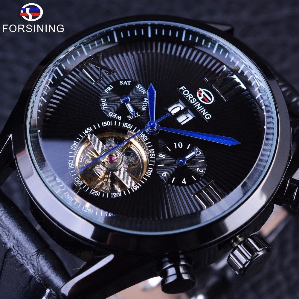 forsining الأسود جلد طبيعي الأيدي الزرقاء كاملة الأسود tourbillion الطلب الهاتفي للرجال ساعات أعلى ماركة فاخرة التلقائية ووتش