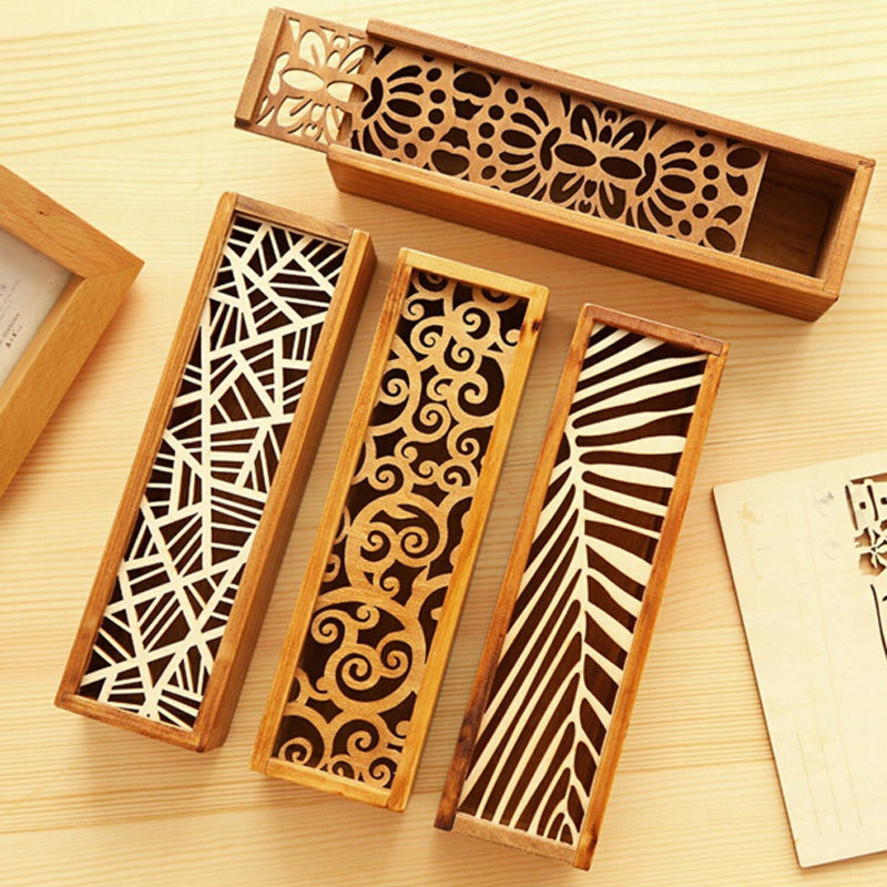 Popular 1Pc Hollow Wooden Pencil Case Storage Box Gift For Children Friends 4 Option