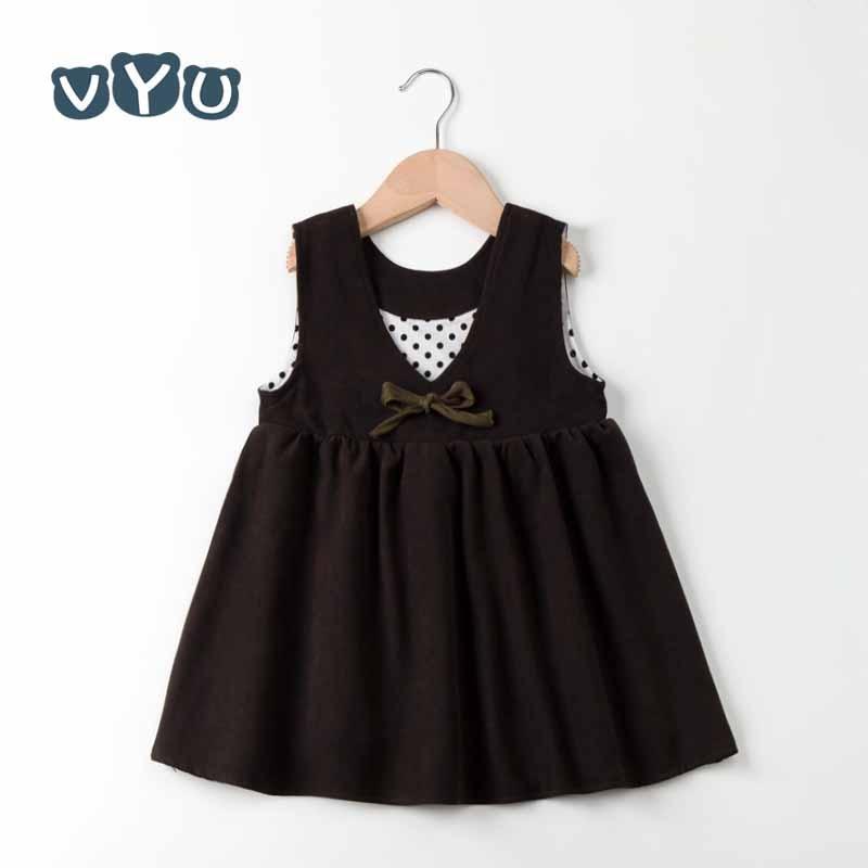 VYU Primavera y otoño Nueva ropa para niños coreanos Vestido para niñas bebés Calidad encantadora Arco Marrón Niños Tank Dress