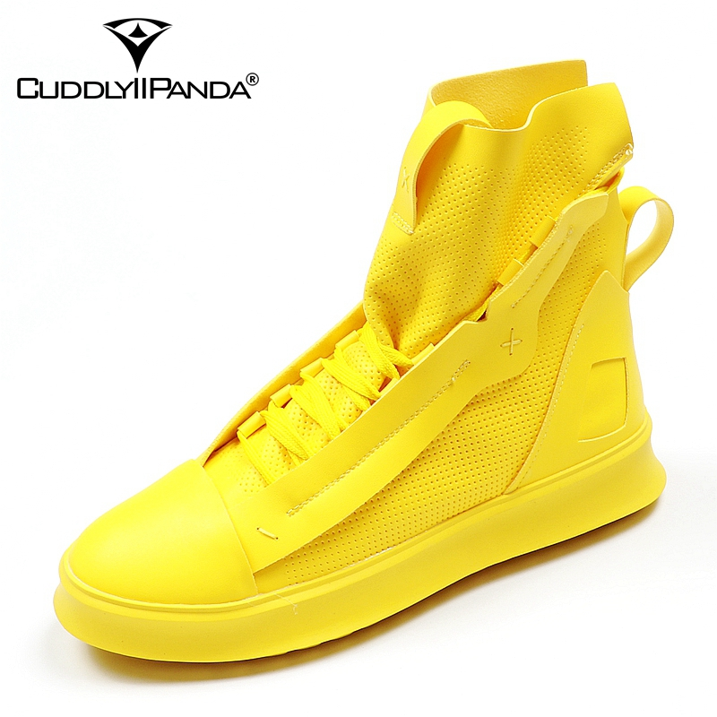 CuddlyIIPanda 2018 Men Fashion Casual Shoes Autumn Winter Men Shoes Male High Top Botas Hombre Men Leisure Yellow Hip-hop Boots men fashion autumn and winter men s hooded leisure sweatshirt