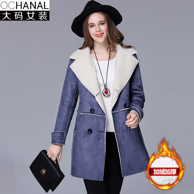 5xl faux sheepskin coat Large size women's clothing factory wholesale 2017 winter double-breasted suede lambs wool women's coat