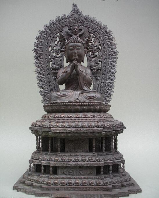 "19 ""Tibet Bouddhisme Absolue Bronze Pavilion bête Roi Sakyamuni Budddha statue"