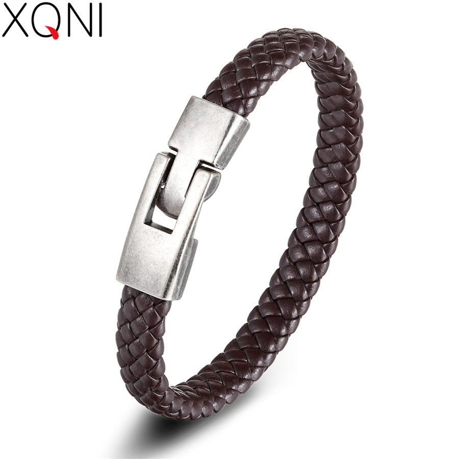 XQNI PU Leather Bracelet Black/Brown/Red/Blue Color Easy Hook Colorful Veins Bangle For Women Jewelry Accessories Fathers Day