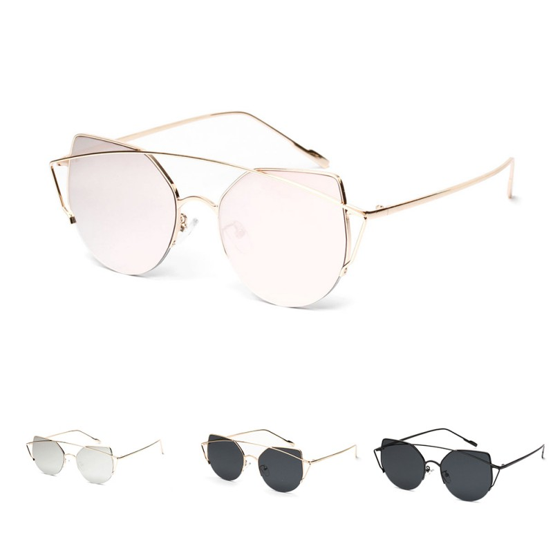 UV400 Mirror Flat Lense Cat Eye Sunglasses Women Vintage Brand Designer Twin Beams Rose Gold Frame