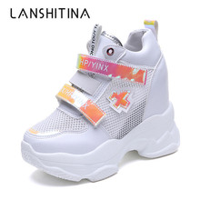 Hot Summer Mesh Breathable Shoes Woman High Platform Heels Casual 2019 Women 11CM Wedges Sneakers Chaussures Femme