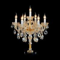 7 Arm золото Хрустальный подсвечник настольные лампы для офиса читальный зал исследование кристалл настольные лампы спальня шампанское свет