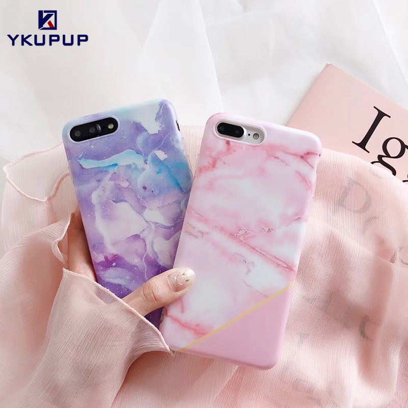 Galleria fotografica YKUPUP Fashion splice pink marble phone cases for iphone x case for iphone 6 s 6s 8 7 plus covers soft imd silicone coque fundas