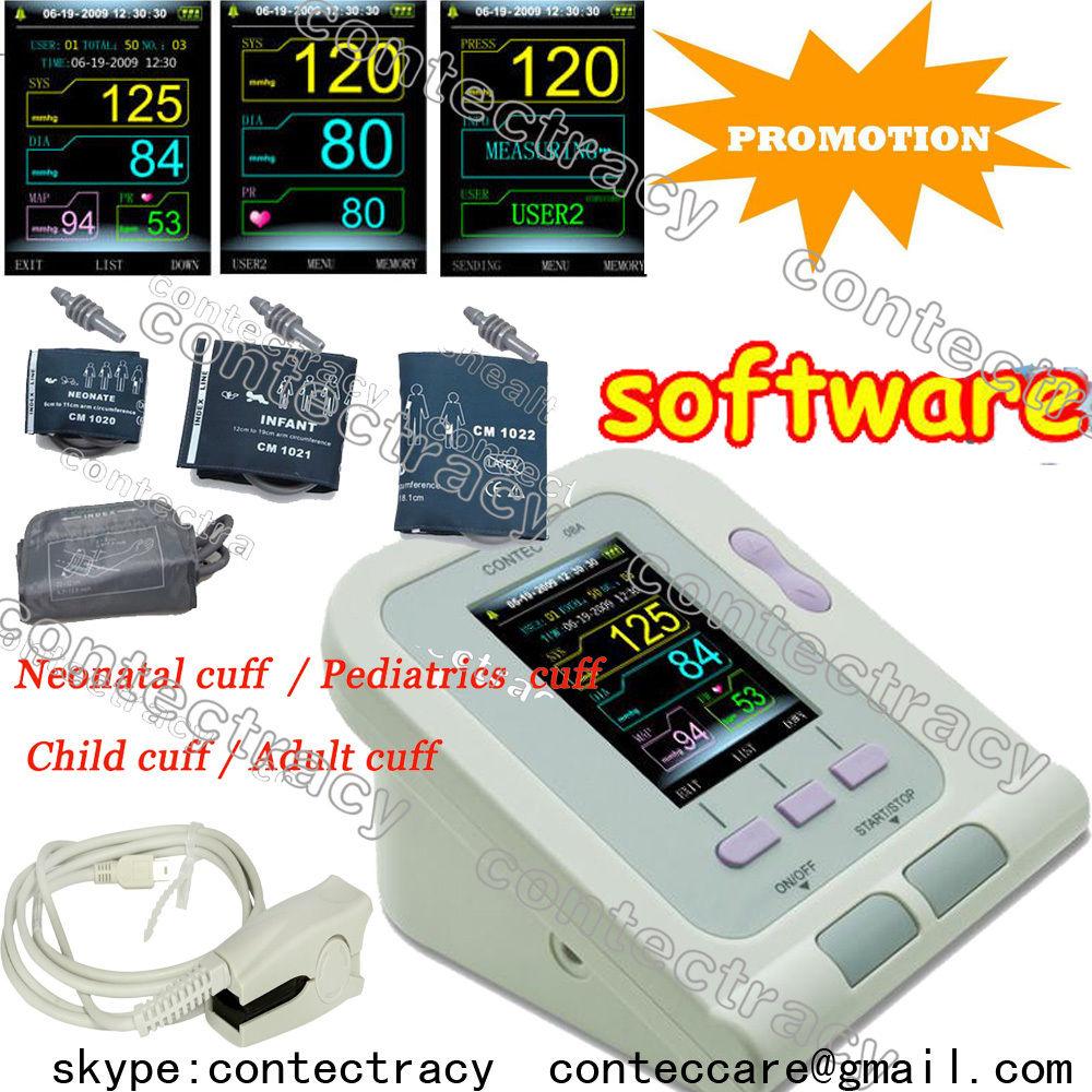 CE clour Blood Pressure Monitor CONTEC08A+four cuffs+Adult SPO2+SW,factory sale