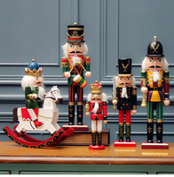 Creative Christmas Wooden Nutcracker Soldier Figurines Pop Puppet Cartoon Character Wood Home Decor