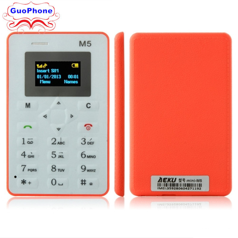 Original AEKU M5 Mini Emergency Card Phone Phone With Backup Wallet Phone 4.5mm Ultrathin Low Radiation Phone