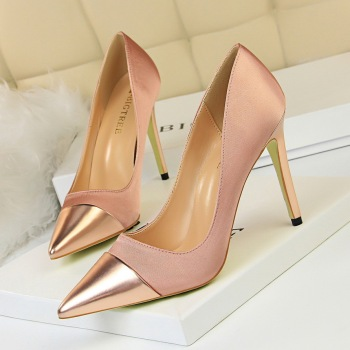 цена на Spring/Autumn Women Fashion High Heels Stain Splice PU Pointed Toe Pumps Shoes Ladies Shallow Slip-On 10CM Thin Heel Party Shoes