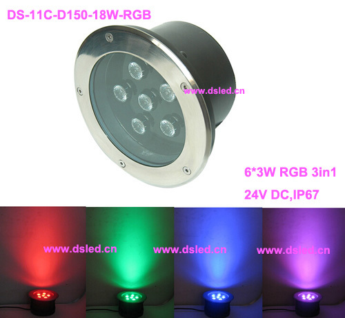 все цены на CE,good quality,18W RGB LED inground light,RGB LED spotlight,DS-11C-D180-18W-RGB,6*3W RGB 3in1,24V DC,controllable,dimmable,IP67 онлайн
