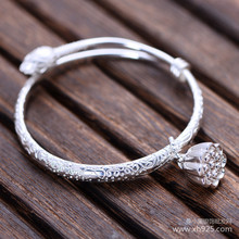 цена 925 sterling silver jewelry Sterling Silver small lotus flower bracelet female models shipping онлайн в 2017 году