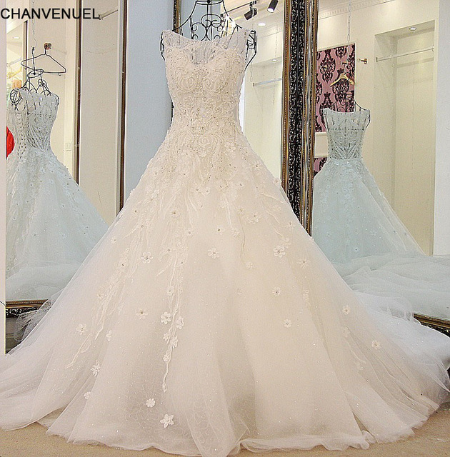 LS88702 Vestidos De Novia Beaded Crystal Wedding Dresses See through Wedding Gown Bridal Dresses Long Tail Robe De Mariage 2016