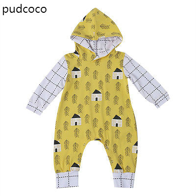 Baby Kids Boy Girl Long Sleeve Warm Infant Hooded Rompers Jumpsuit Cotton Print Autumn Clothes Outfits Yellow warm thicken baby rompers long sleeve organic cotton autumn