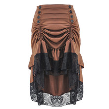 Victorian Brown Asymmetrical Floral Lace Ruffles Button Long Steampunk Skirts Sexy Gothic Clothing Women Vintage Skirt Plus Size цены