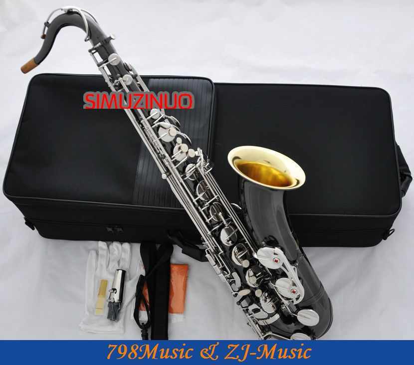 Tenor Saxophone suitable for professional saxophonist New Black Nickel Tenor Sax Gold Bell High F# Silver Key With Case