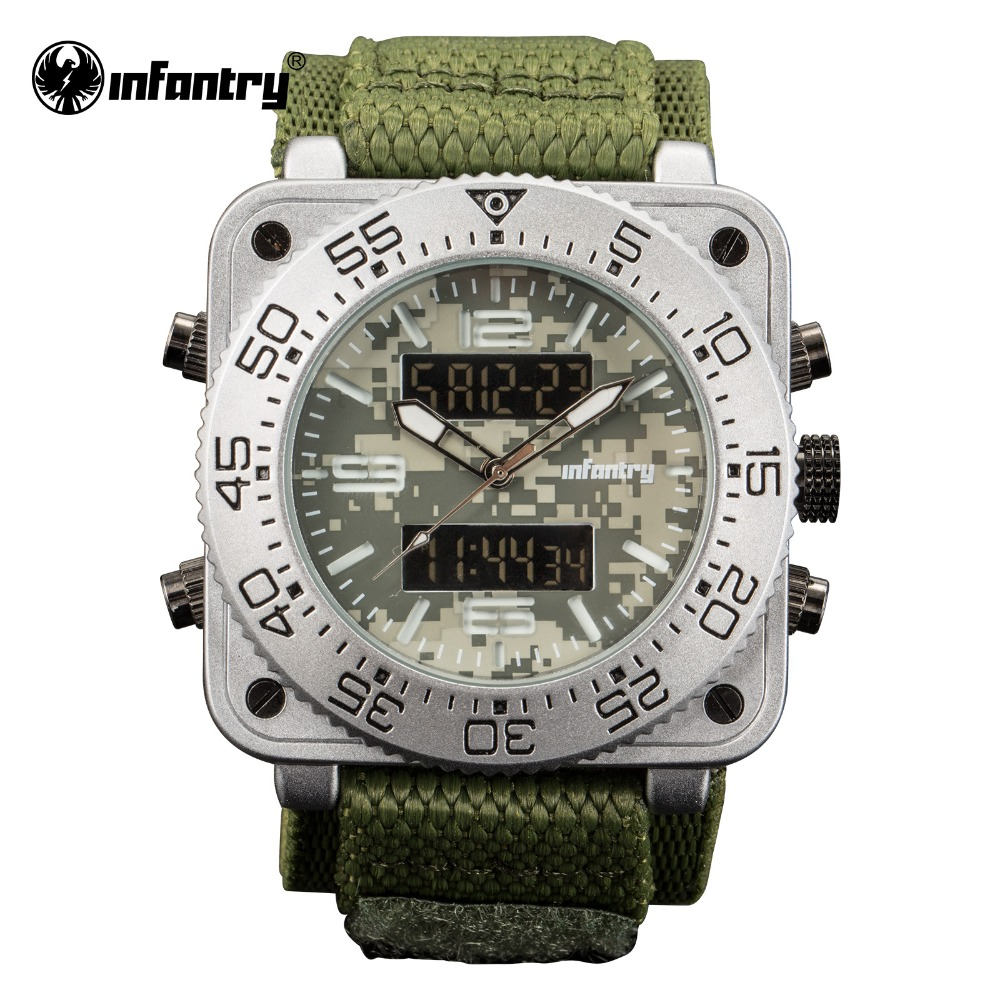 INFANTRY Military Watch Men Digital Quartz Wristwatch Mens Watches Top Brand Luxury 2018 Square Tactical Army Relogio Masculino infantry military watch men square digital led wristwatch mens watches top brand tactical army sport nylon relogio masculino