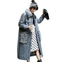 Дубленка из натуральной кожи куртка из натурального меха пальто осень-зима куртка женская одежда 2018 Корейская Длинная шерстяная пуховая ку...