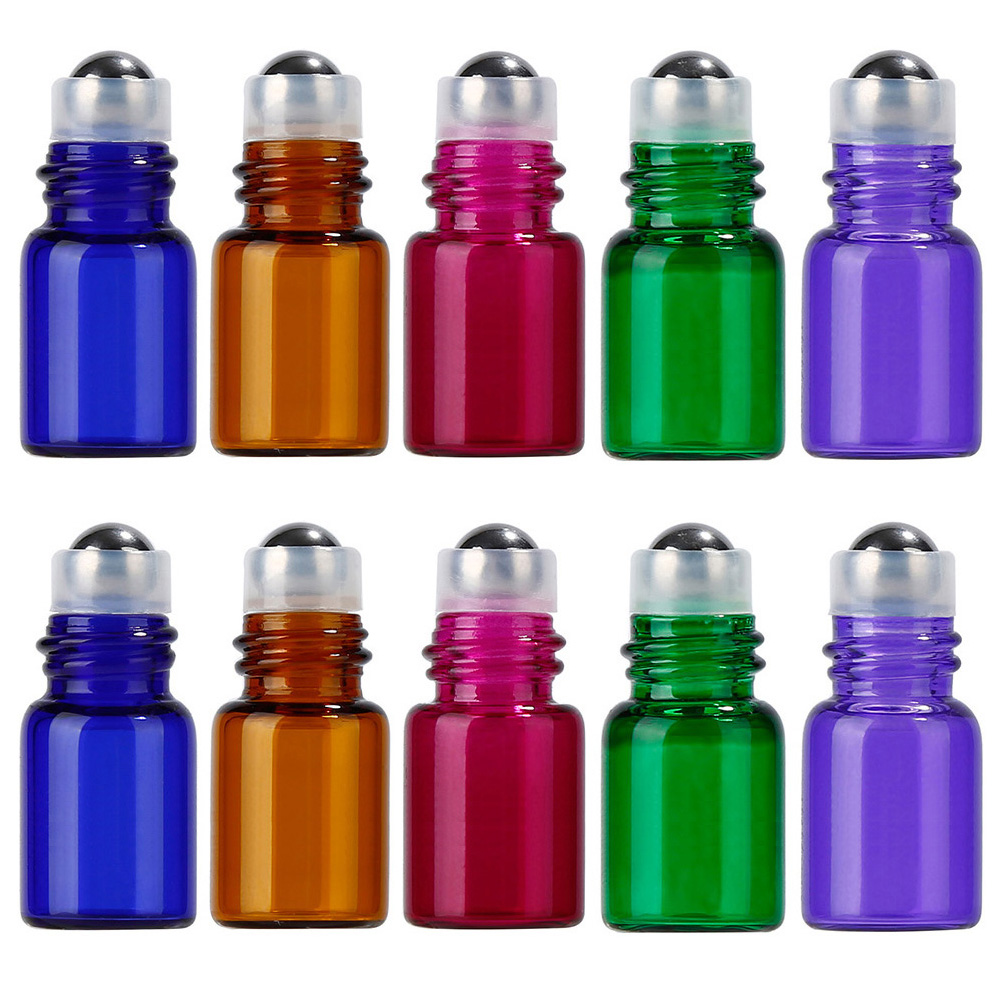 10PCS 3ml Glass Roll on Bottles Aromatherapy Essential Oil Roller Bottles with White Cap Mixed Bottle Color Drop Shipping