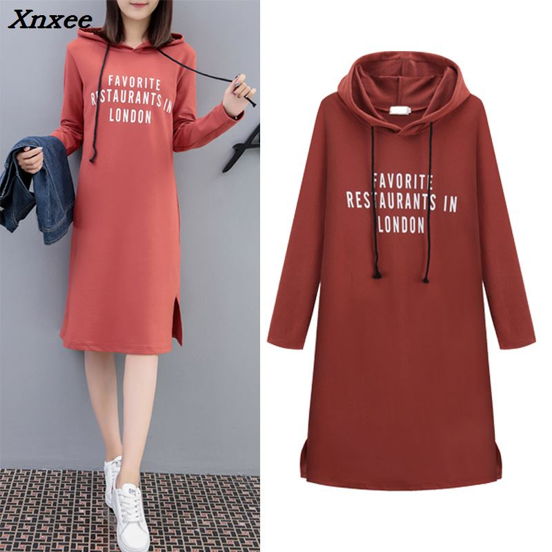 Big Size Casual Letter A Line Women Dress Loose Long Sleeve Hooded Women Dresses Solid Knee Length Women Clothes 2018 Xnxee in Dresses from Women 39 s Clothing