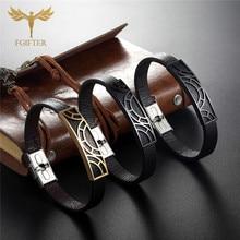Men Bracelets Fitting-Cuff Man Jewelry Stainless-Steel Male Genuine-Leather Cool Geometric