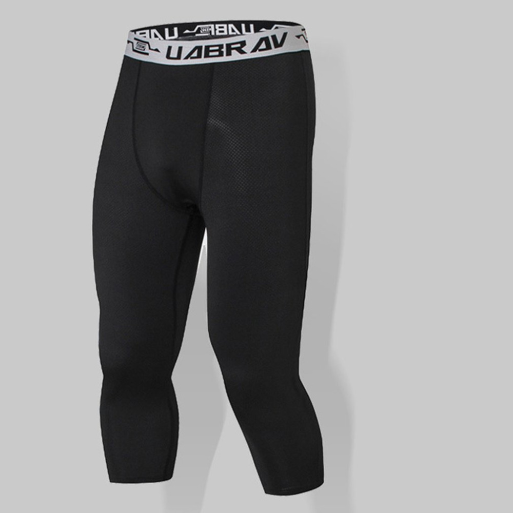 Elastic Men Compression 3/4 Sport Pants Calf Length Pants Quick Drying Cooling Running Pants Tight Leggings Fitness Trousers